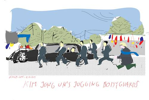 Cartoon: Jogging bodyguards (medium) by gungor tagged north,korea,north,korea