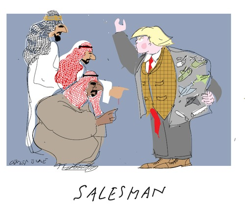 Cartoon: Salesman B (medium) by gungor tagged usa,usa,trump,salman,bin,abdulaziz,mohammad,saudi,arabien