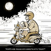 Cartoon: Me and my daughter (small) by putuebo tagged moon night motorcycle daughter
