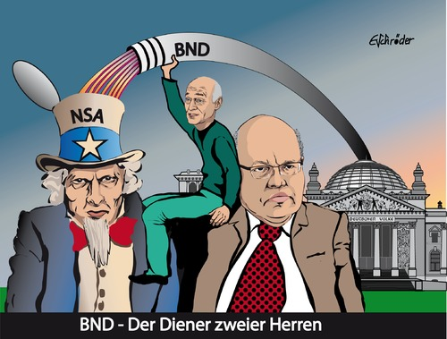 Cartoon: NSA  BND Skandal (medium) by ESchröder tagged nsa,bnd,geheimdienst,spionage,skandal,peter,altmeier,gerhard,schindler,uncle,sam,aushorchen,selektoren,defizite,beim,karikatur,eschröder