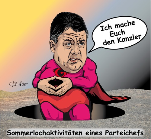 Cartoon: Sommerlochaktivitäten (medium) by ESchröder tagged spd,sommerloch,sigmar,gabriel,kanzlerkandidatur,wahlkampfdebatte,kanzlerschaft,mitgliederentscheid