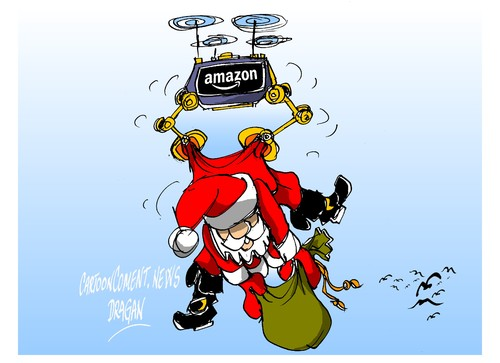 Cartoon: Amazon- papa drones (medium) by Dragan tagged amazon,papa,noel,drones,negocio,cartoon