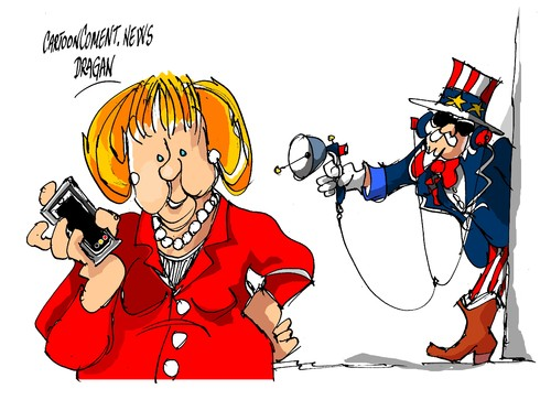 Cartoon: Angela Merkel interceptacion (medium) by Dragan tagged angela,merkel,interceptacion,espionaje,alemania,estados,unidos,eeuu,politics,cartoon