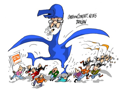 Cartoon: Rajoy Birdman-Ciudadans (medium) by Dragan tagged mariano,rajoy,partido,popular,pp,ciudadans,albert,rivera,politics,cartoon