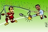 Cartoon: special kick (small) by johnxag tagged johnxag,karagounis,football,greek,goal