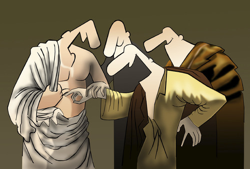 Cartoon: Joking Thomas.. (medium) by berk-olgun tagged caravaggio