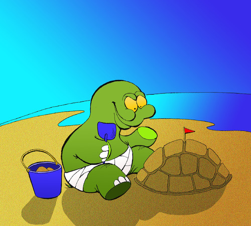 Cartoon: Sand Castle... (medium) by berk-olgun tagged sand,castle