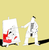 Cartoon: Painter and the Knight... (small) by berk-olgun tagged painter,and,the,knight