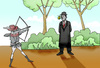 Cartoon: Rene Magritte vs Wilhelm Tell.. (small) by berk-olgun tagged rene magritte