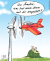 Cartoon: Flugzeug trifft auf Windrad (small) by STERO tagged flugzeug,windrad,regenerative,energien