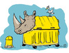 Cartoon: Verkehrte Welt - das Nashorn (small) by jen-sch tagged nashorn,mülleimer,tier