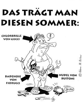 Cartoon: Kowalewski Sommermode (medium) by Glenn M Bülow tagged ferien,urlaub,sommer,strand,bademode