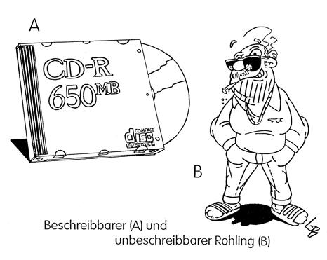 Cartoon: Rohling (medium) by Glenn M Bülow tagged software,kopieren,illegal,legal,brenner,computer,dvd,cd,brennen,rohling