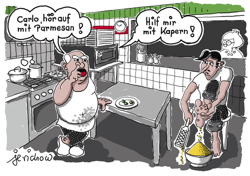 Cartoon: Pizzeria (medium) by jerichow tagged pizza,parmesan,fußpflege,popel,popeln,kapern,pizza,parmesan,fußpflege,popel,popeln,kapern
