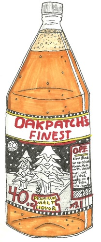 Cartoon: OakPatches Finest Malt Liquor (medium) by m-crackaz tagged bum,beer,hobo,malt,liquor,drink,booze,drunk,alcohol