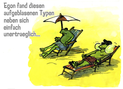 Cartoon: Am Strand (medium) by jenapaul tagged frosch,frösche,strand,humor,angeber
