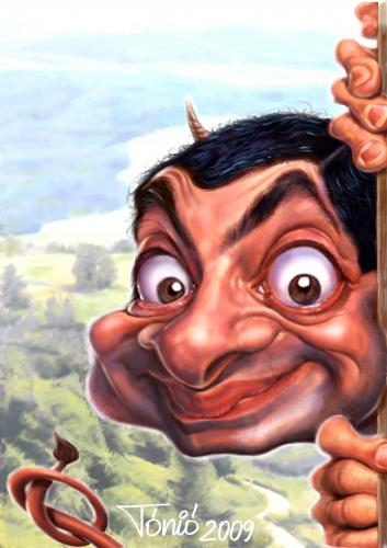 Cartoon: Mr.Bean (medium) by Tonio tagged caricature,portrait,actor,filmstar,after,photo,funny,picture,karikatur