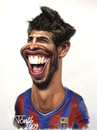 Cartoon: Gerard Pique (small) by Tonio tagged fc,barcelona,spanish,defender
