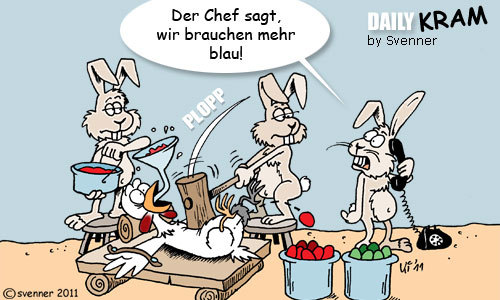 Cartoon: Osterei-Fabrik (medium) by svenner tagged daily,ostern,hasen