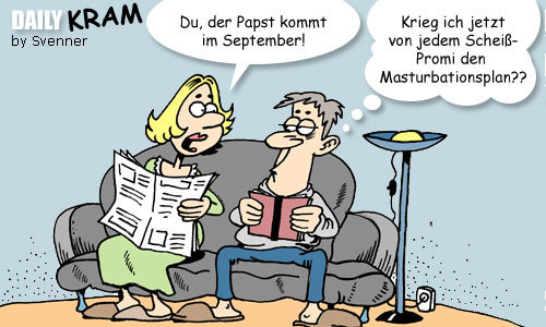 Cartoon: Papst-Besuch (medium) by svenner tagged daily,cartoon,comic,papst