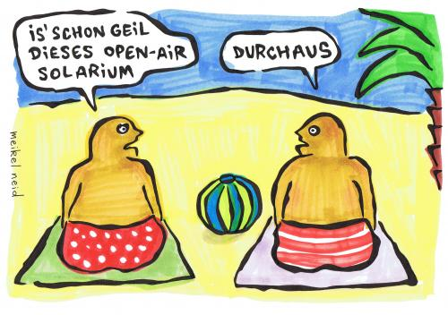 Cartoon: am strand (medium) by meikel neid tagged open,air,solarium,sonne,strand,urlaub