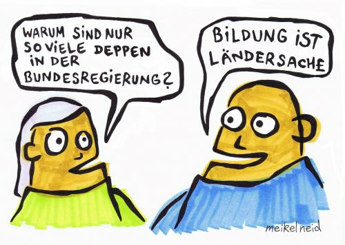 Cartoon: ländersache (medium) by meikel neid tagged bildung,ländersache,spam,eulenspiegel,politik,merkel,demokratie,chefsache,wahl,bürger,wähler,meikel,neid