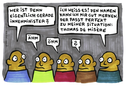Cartoon: misere (medium) by meikel neid tagged thomas,de,maiziere,misere,innenminister,notlage,elend,miserabel