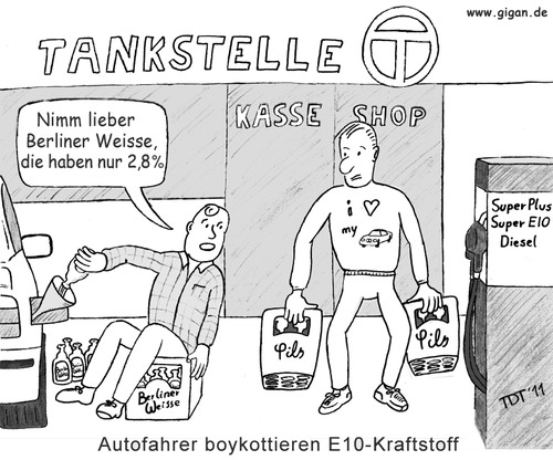 Cartoon: Bier statt E10 (medium) by TDT tagged tankstelle,super,satire,politik,ethanol,e10,biosprit,bier,autofahrer,auto,alkoholgehalt