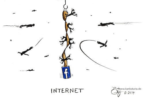 Cartoon: Facebook (medium) by Bernd Ötjen tagged facebook,fliegenfänger,internet,gruppe,gefangen,like,anmeldung,freunde,follower,zwang,hasskomentar,fake,news