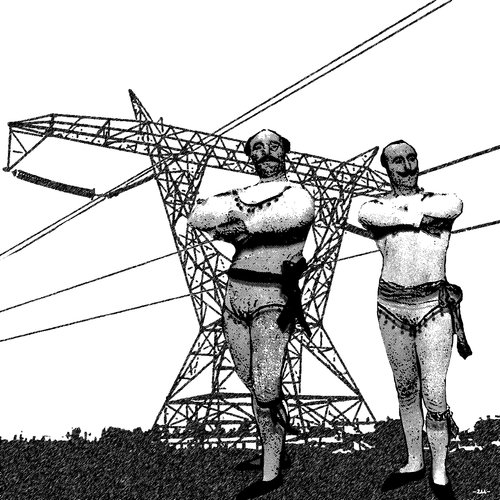 Cartoon: Power (medium) by zu tagged power,wire,artist,strongman