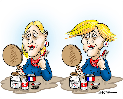 Cartoon: French presidential election (medium) by jeander tagged marine,le,pen,france,president,election,donald,trump,marine,le,pen,france,president,election,donald,trump