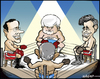 Cartoon: The Candidates (small) by jeander tagged usapresident,election,republicans,ron,paul,mitt,romney,newt,gingrich,rick,santorum