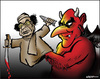 Cartoon: The devils partner (small) by jeander tagged gadaffi khadaffi libya dictator gaddafi