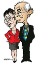 Cartoon: Van Pompuy and  Ashton (small) by jeander tagged herman,van,rompuy,cathrine,ashton,president,high,comissioner,uropean,union,foreign,minister,baroness