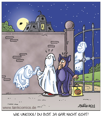 Cartoon: Halloween2 (medium) by pentrick tagged tankcomics,comics,tank,cartoon,bökesch,gerd,verkleidung,vollmond,nacht,gespenster,kids,kinder,spukschloss,gruseln,geister,ghosts,halloween