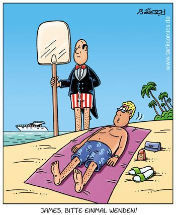 Cartoon: stets zu diensten (medium) by pentrick tagged gerd,butler,yacht,strand,beach,holidays,summer,sommerurlaub,bökesch,cartoon,tank,comics,tankcomics