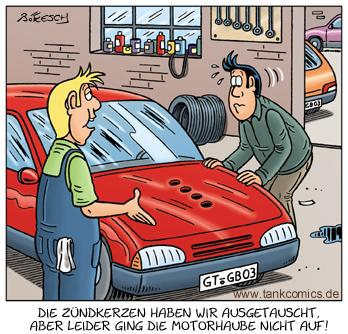 Cartoon: werkstatt (medium) by pentrick tagged cartoon,bökesch,gerd,plug,spark,mechaniker,service,werkstatt,zündkerzen,car,auto,tank,comics,tankcomics,garage