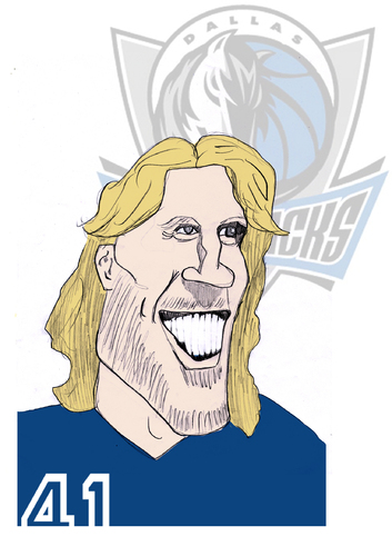Cartoon: Dirk Nowitzki (medium) by Liam tagged basketball