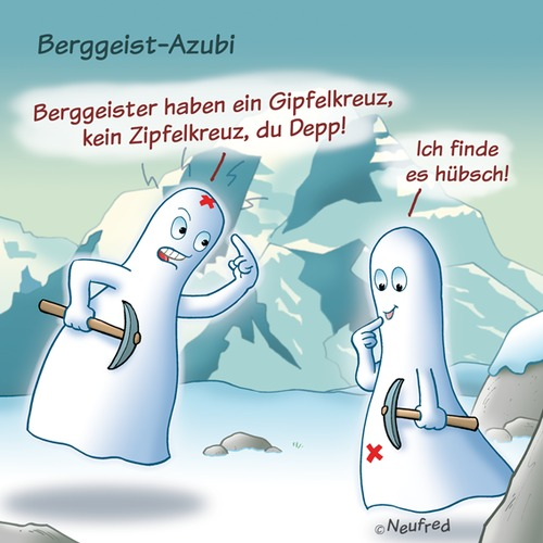Cartoon: Bergge (medium) by neufred tagged geister,gespenster,berge,gipfelkreuz