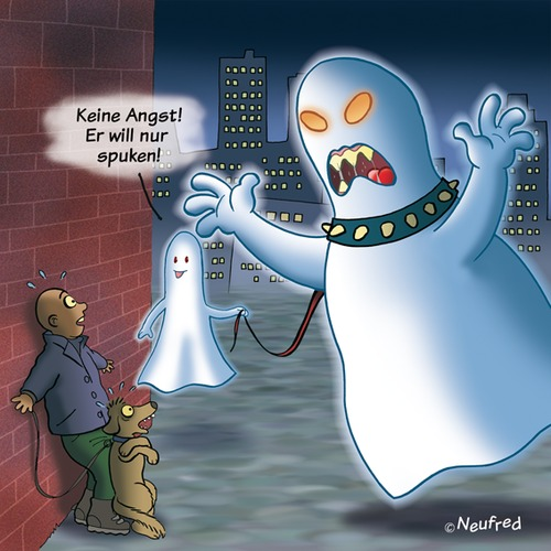 Cartoon: Nur Spuken (medium) by neufred tagged spuken,geist,ghost,hund,angst,fear,nacht,halloween,gruselig,halsband