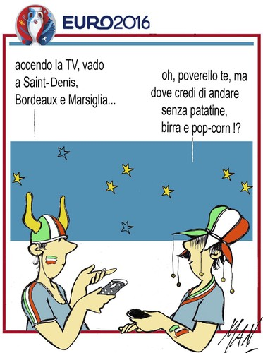 Cartoon: euro2016 oggi Italia Spagna (medium) by Enzo Maneglia Man tagged fighillearte,maneglia,man,cassonettari