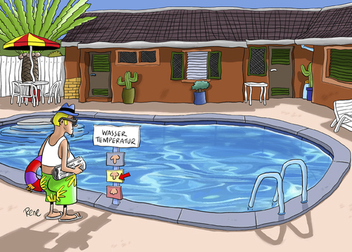 Cartoon: Wassertemperatur (medium) by rene tagged schwanz,wasser,temperatur,ferien,pool,schwimmen,baden