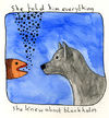 Cartoon: She told him everything .... (small) by mhoogebo tagged dog,fish,animals,watercolour,absurdism