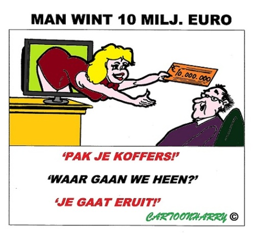 Cartoon: 10 Miljoen Euro (medium) by cartoonharry tagged miljoenen,winnen,loterij,eruit,koffers,cartoon,cartoonist,cartoonharry,dutch,toonpool