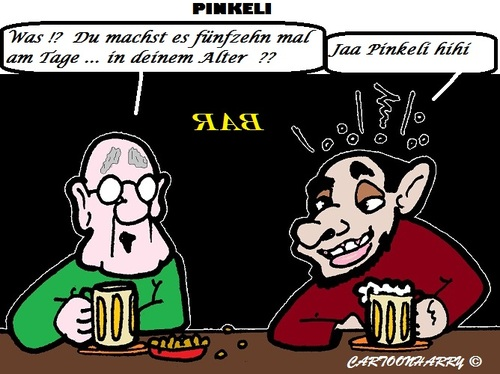 Cartoon: Alter? (medium) by cartoonharry tagged bar,betrunken,besoffen,pinkeln