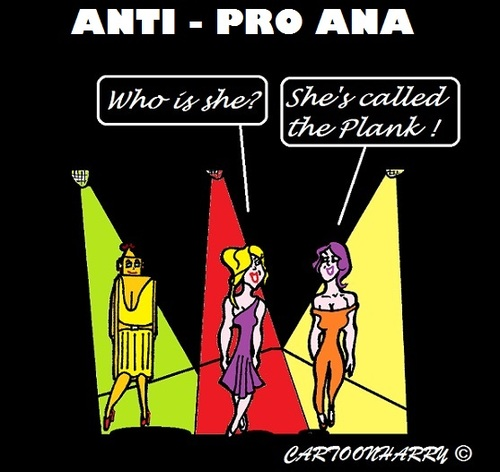 Cartoon: Anti Pro-Ana (medium) by cartoonharry tagged anorexia,catwalk,models,girls,plank