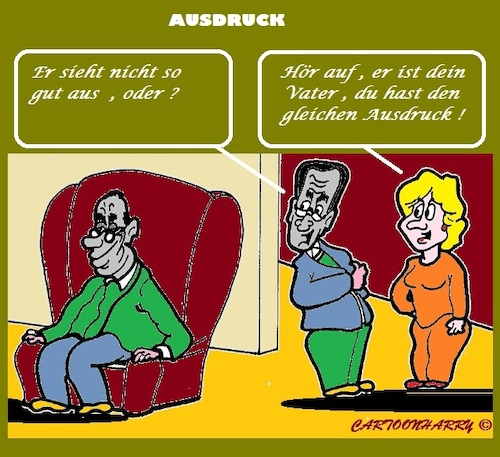 Cartoon: Ausdruck (medium) by cartoonharry tagged ausdruck,vater,sohn
