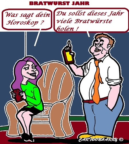 Cartoon: Horoskop (medium) by cartoonharry tagged horoskop,bratwurst