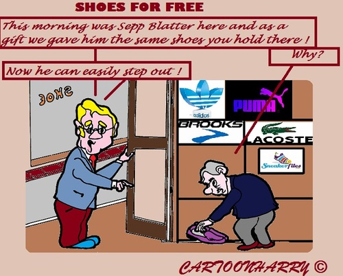 Cartoon: Present (medium) by cartoonharry tagged fifa,blatter,present,shoes