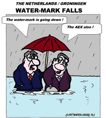 Cartoon: Water-Mark Falls (medium) by cartoonharry tagged economy,water,holland,groningen,aex,cartoon,fellows,cartoonist,cartoonharry,dutch,toonpool